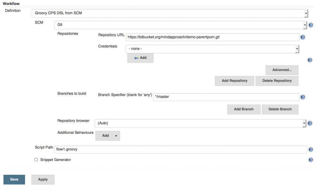 Figure 1: Loading Workflow script from Git